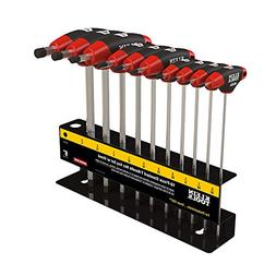 Hex Key Kit with Stand, Ball End T-Handle, 6-Inch SAE, 10-Pi
