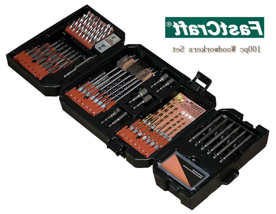 100pc woodworkers tool set tin drill