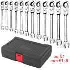 12Pc DUO Flexible Head and End Ratchet Wrench Tool Set SAE M