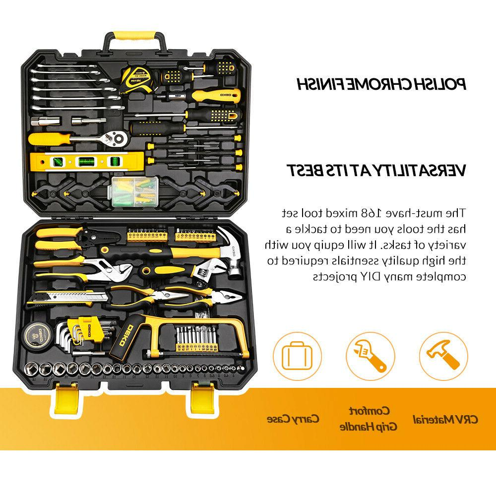 168 Pcs Set General Hand Tool Kit with Plastic Toolbox