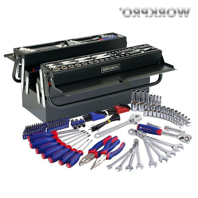 WORKPRO 183PC Tool Set Home Tools Metal Tool Box Set Hand To