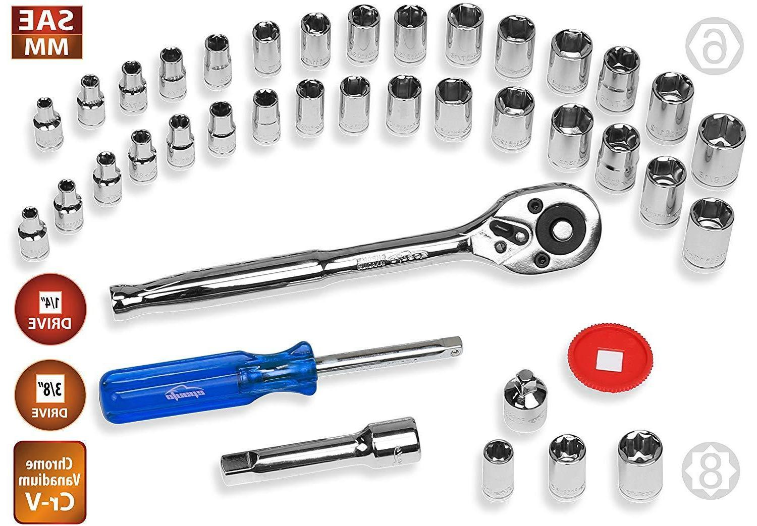 40 Pieces - 1/4-Inch 3/8-Inch Socket Ratchet