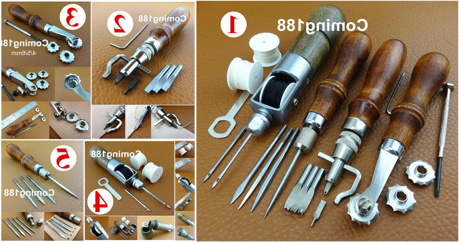 5kinds Leather Craft Sew 4in1 Lock Thread Awl Creasing Groov