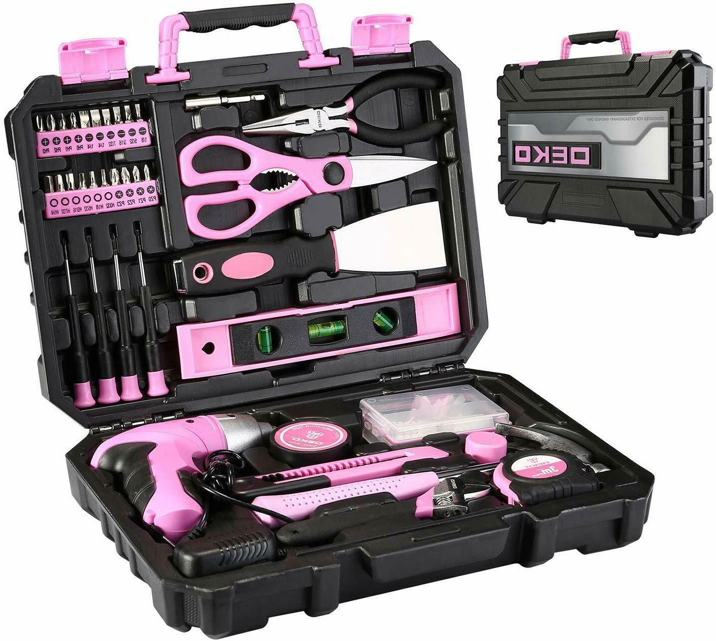 DEKO 98 PCS Pink Tool Set General Household Hand Tool Kit wi