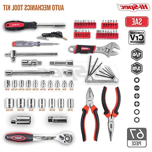 """Hi-Spec Piece Auto Tool - Professional Release Offset Ratchet 72 3/4"""" SAE Sockets Set, T-Bar, Extension Bar, Tools Screw in Storage"""
