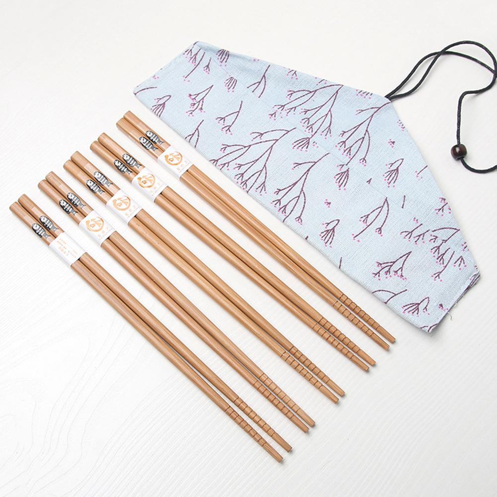 Bamboo Mats Maker <font><b>Set</b></font> <font><b>Tools</b></font> 5 Pairs Chopsticks With Bag Non