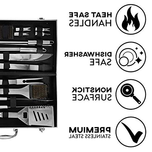 kaluns BBQ 21 Piece Heavy Tools, tools barbequing, Professional Grilling Expert, Complete
