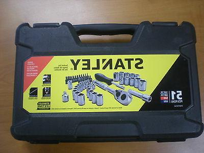 """BRAND NEW STANLEY 51 PIECE SOCKET SET 3/8"""" and 1/4"""", SAE and"""