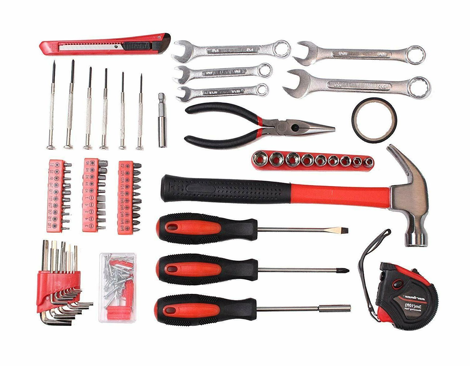 Tool Set Hammer Screwdrivers Pliers Measuring Tape Wrench