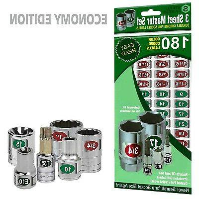 Chrome Socket Set Labels - Organize and Tag Sockets, Wrenche