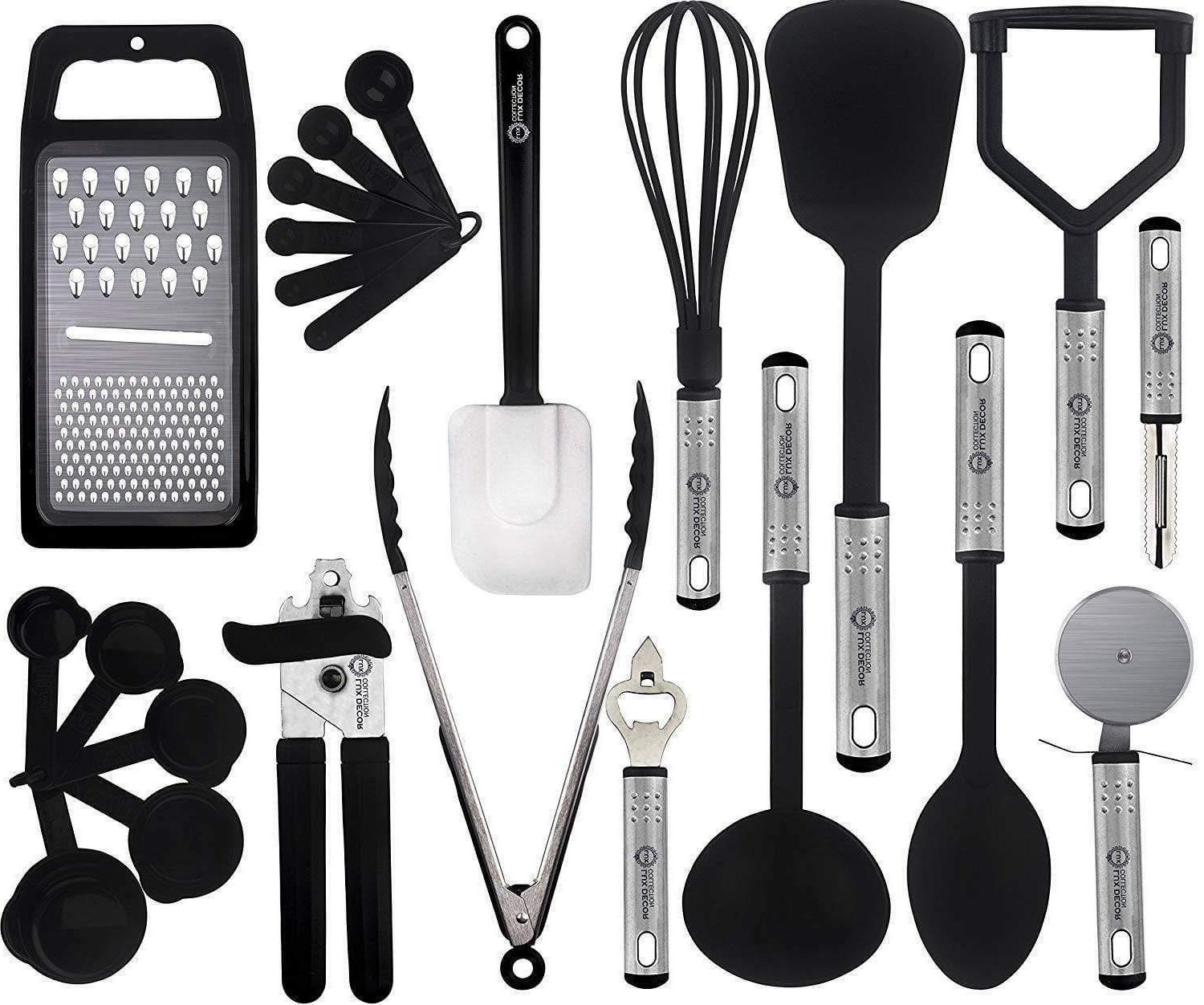 Cooking 23 Piece Stainless Steel Nylon Cookware Utensils