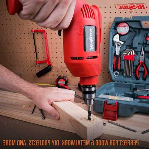 Hi-Spec, AC Corded Power Drill & Hand Set Combo Kit Hacksaw