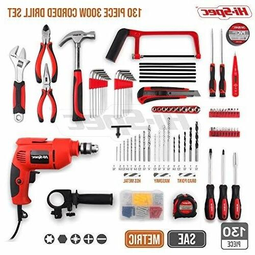 Hi-Spec 300W Drill 130pc Hand Set Combo Kit with Hacksaw,
