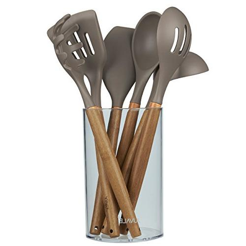 Pasta Server Ladle Spoons Gourmet Non-Stick Silicone Cooking Tools with Bamboo Handles Spatulas 7-Piece Set Including Holder Juvale Kitchen Utensil Set Tan//Grey