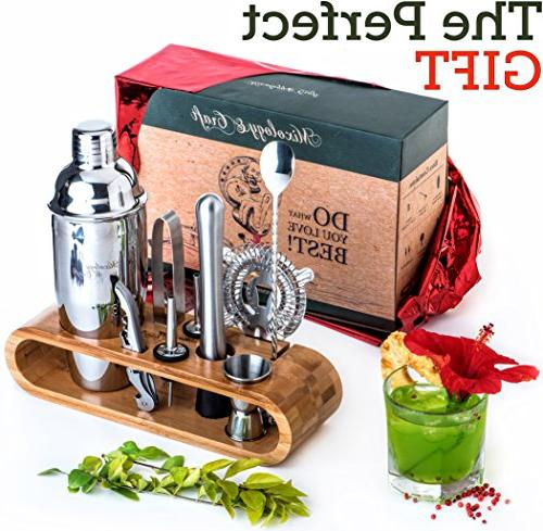 Mixology Bartender Bar Tool with Stylish Bamboo Stand Perfect Bartending and Cocktail Shaker Set For Drink Mixing Cocktail Bonus