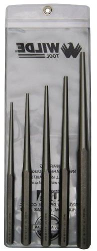 Wilde Tool PLT 5.NP/VP Taper Punch Set with Vinyl Pouch, Nat