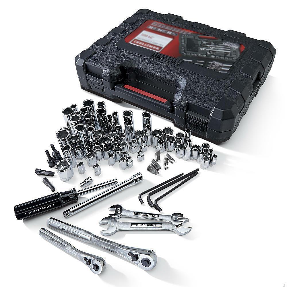 New! Piece SAE Tool Set Sockets Wrenches