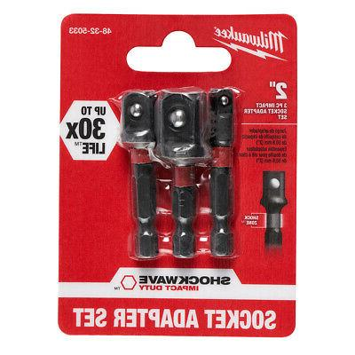 "Milwaukee 2pk SHOCKWAVE 1/4"" Hex Socket Adapters 1/4, 3/8, 1"