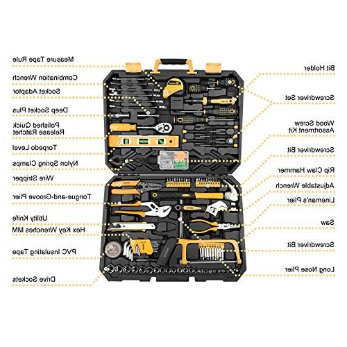 DEKOPRO Wrench Auto Repair Combination Package Tool Set Hand Tool Kit with Plastic Case
