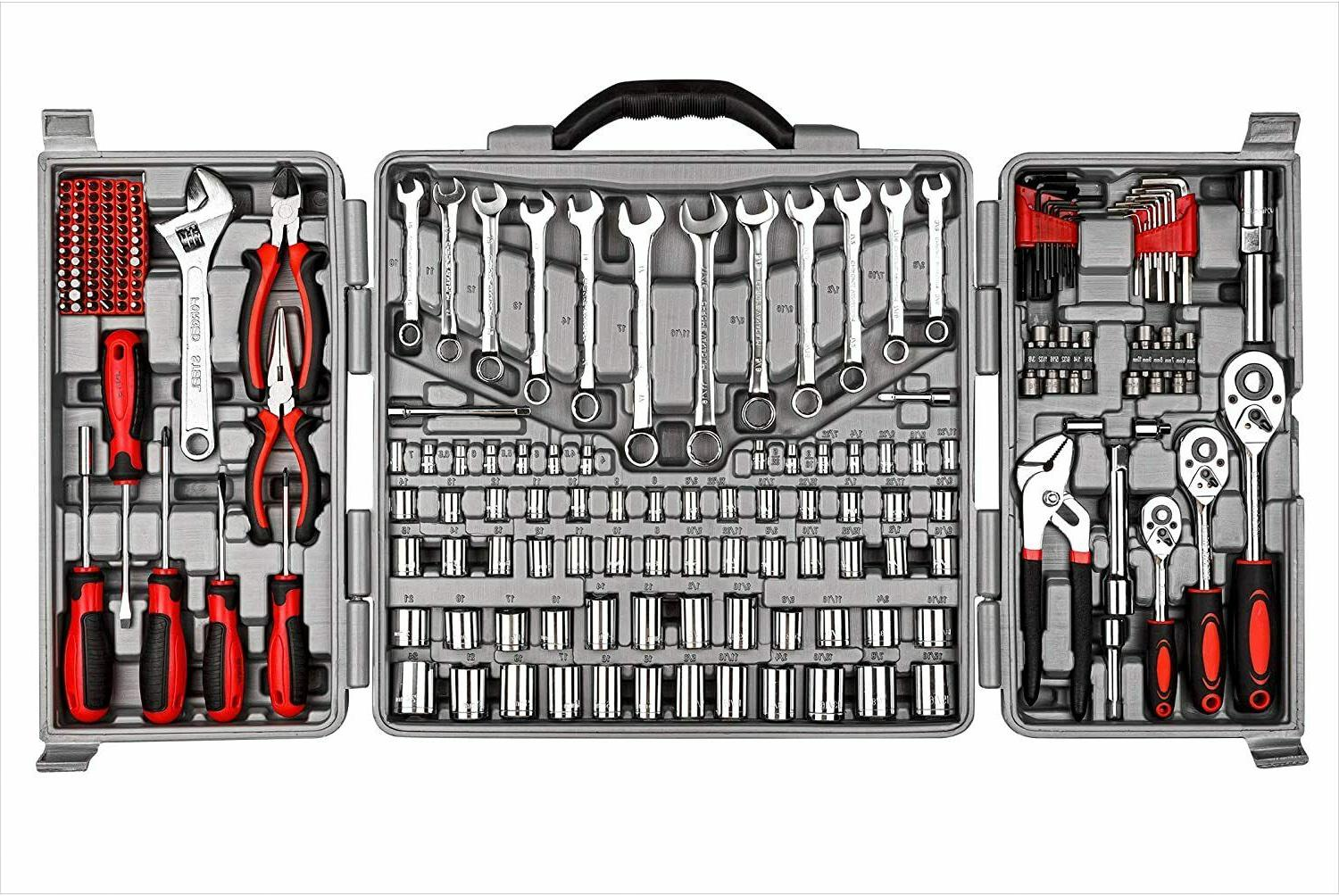 tool set 205 pcs red ratchet wrench