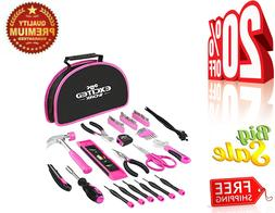 Ladies Tool Kit, 69-Piece Portable Pink Set Easy Carrying Po