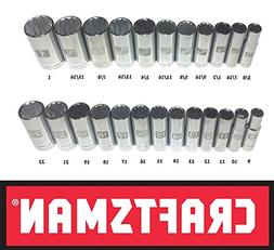 Craftsman Laser Etched Easy Read 24 Piece SAE & Metric 3/8""