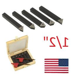 "USA 5 pcs 3//8/"" Indexable Carbide C6 Insert Tool Bit /& Holder Mini Lathe Set"