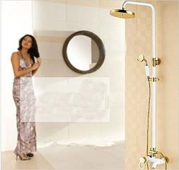 GOWE Luxury White Painting Baked Shower Faucet Set 8 Inch Go