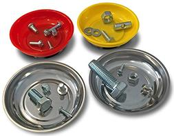 OCM 4 Pack Magnetic Parts Tray Set, Includes 2 Stainless 4 1