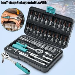 New 46PCS Socket Ratchet Torque Wrench Spanner Tools Kit Set