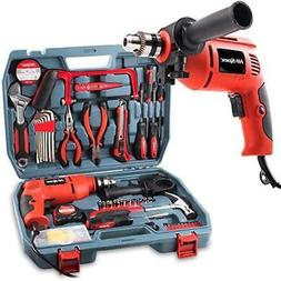 Power Drill & 130pc Hand Tool Set Combo Kit with Hacksaw, Pl