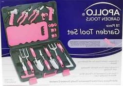 Apollo Tools DT3795P Garden Tool Set, Pink, 18-Piece, Donati