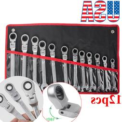 Ratchet Combination Wrench Metric Set Box Open End Combo Gea