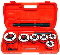 New Ratchet Pipe Threader Kit Set Ratcheting W/5 Dies and Ca