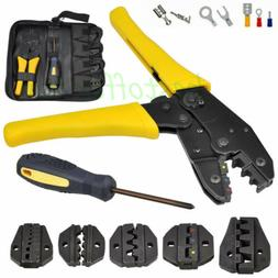 Ratcheting Terminal Crimper Tool Set for Insulated  Non-insu