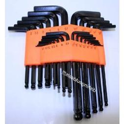 New 25pc SAE METRIC Ball Hex Key Allen Wrench Set Tools