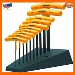 Set of 10 Hex T-handles with Stand, sizes 3/32-3/8-Inch mech