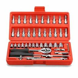 Replaitz 46pcs 1/4-Inch Socket Ratchet Wrench Combination To