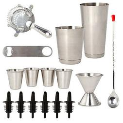 Stainless Steel 16 Pcs. Cocktail Shaker Set - Complete Profe