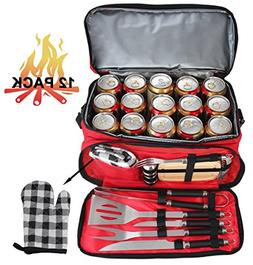 POLIGO 12PCS Stainless Steel BBQ Grill Tools Set With Red In