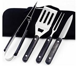 Joyeee Premium 4 Pieces Stainless Steel BBQ Set with Portabl