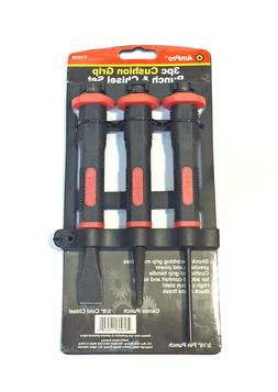 Ampro T19530 Cushion Grip Punch and Chisel Set, 3-Piece