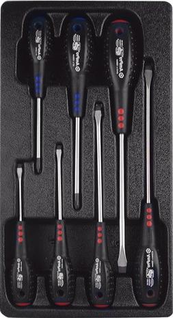 AMPRO T32098 Super Grip Screwdriver Set and Slotted, 7-Piece