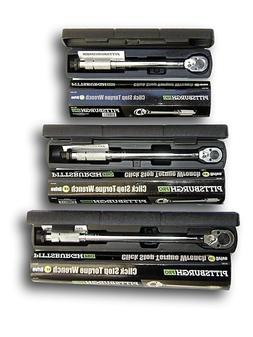 Set of 3  Pro Reversible Click Type Torque Wrench Sizes 1/4""