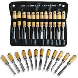 Professional Wood Carving Chisel Set - 12 Piece Sharp Woodwo
