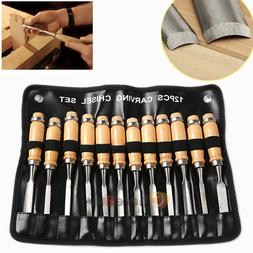 Wood Carving Hand Chisel Tools 12 Piece Set Woodworking Prof