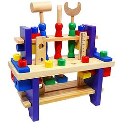 Lewo Wooden Workbench with Tools Pretend Play Toolbox Access